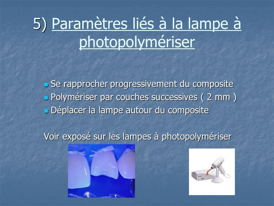 5) Paramètres liés à la lampe à photopolymériser
