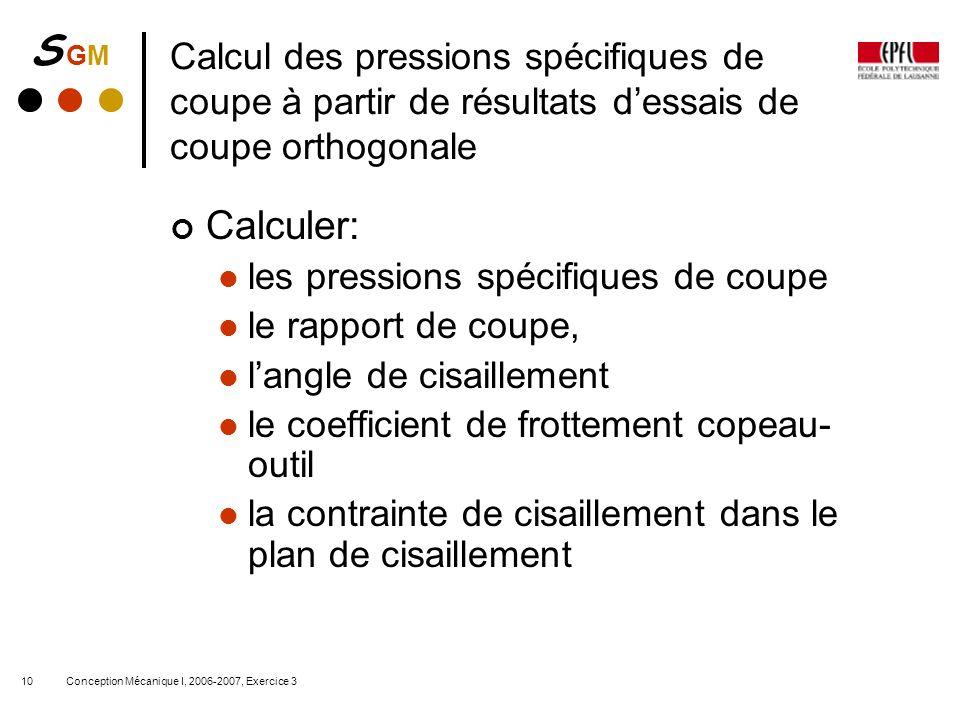 Calcul des pressions spécifiques de coupe à partir de résultats d'essais de coupe orthogonale