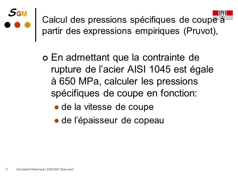 Calcul des pressions spécifiques de coupe à partir des expressions empiriques (Pruvot),
