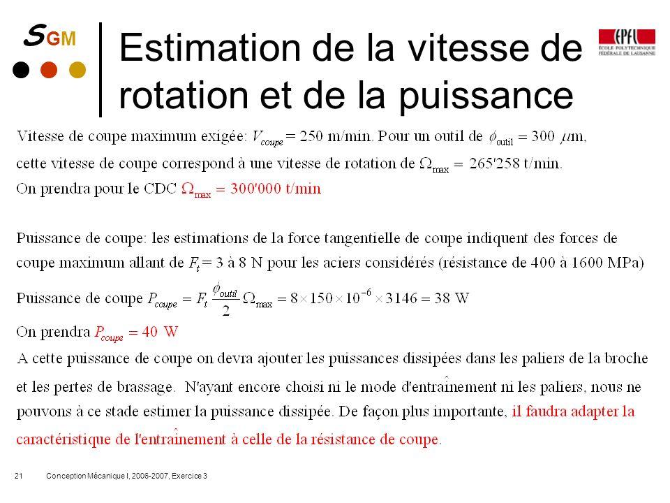 Estimation de la vitesse de rotation et de la puissance