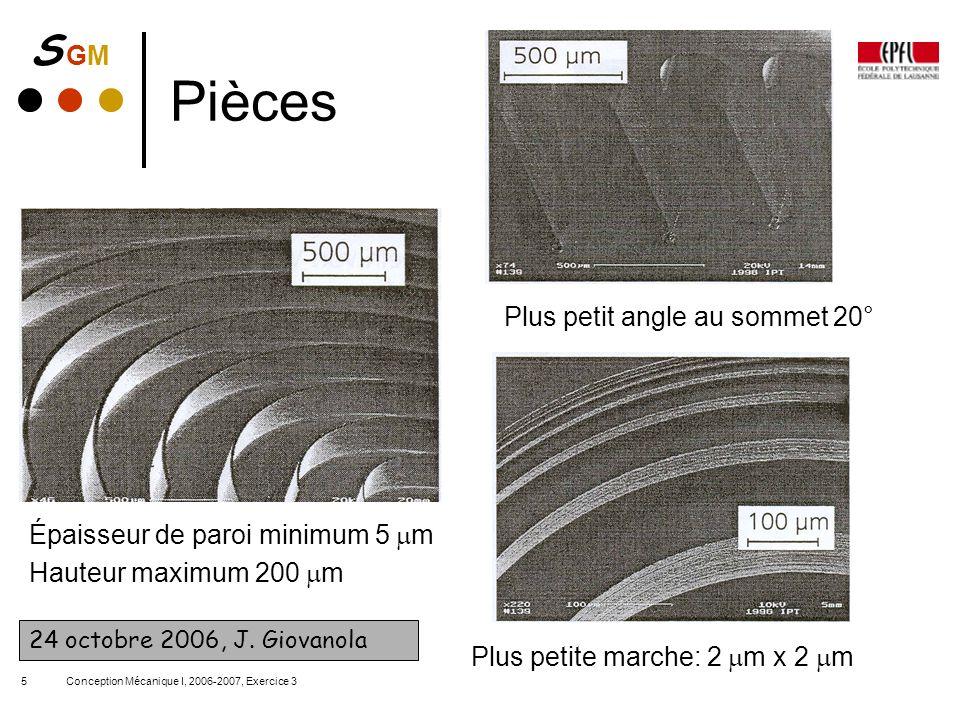 Pièces Plus petit angle au sommet 20° Épaisseur de paroi minimum 5 mm