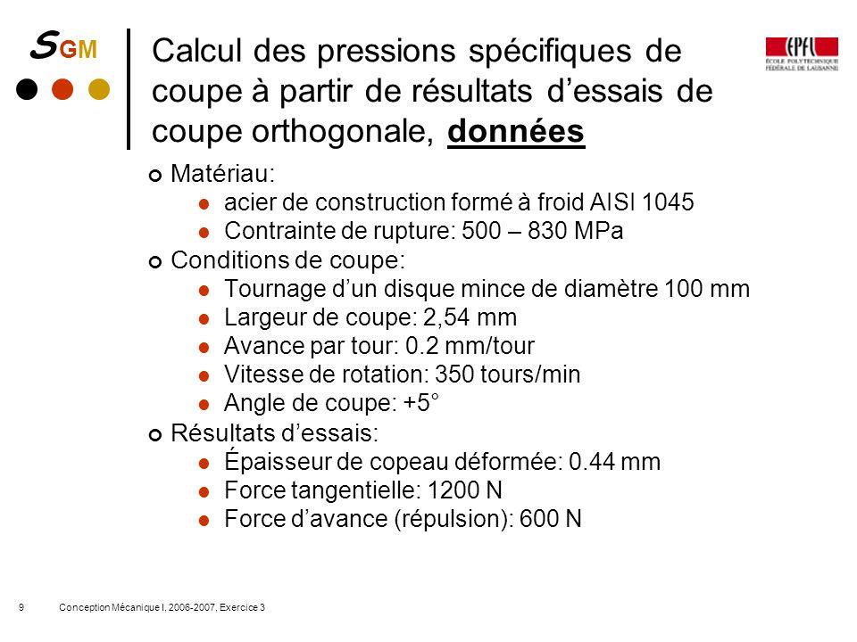 Calcul des pressions spécifiques de coupe à partir de résultats d'essais de coupe orthogonale, données
