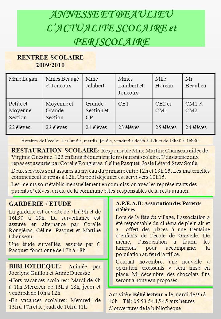 ANNESSE ET BEAULIEU L'ACTUALITE SCOLAIRE et PERISCOLAIRE