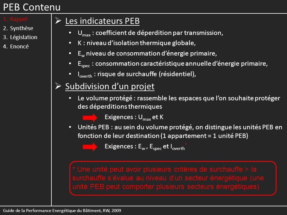 PEB Contenu Les indicateurs PEB Subdivision d'un projet