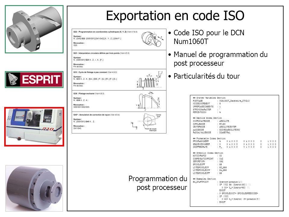 Exportation en code ISO