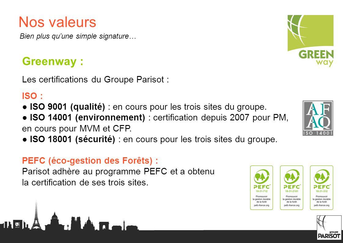 Nos valeurs Greenway : Les certifications du Groupe Parisot : ISO :