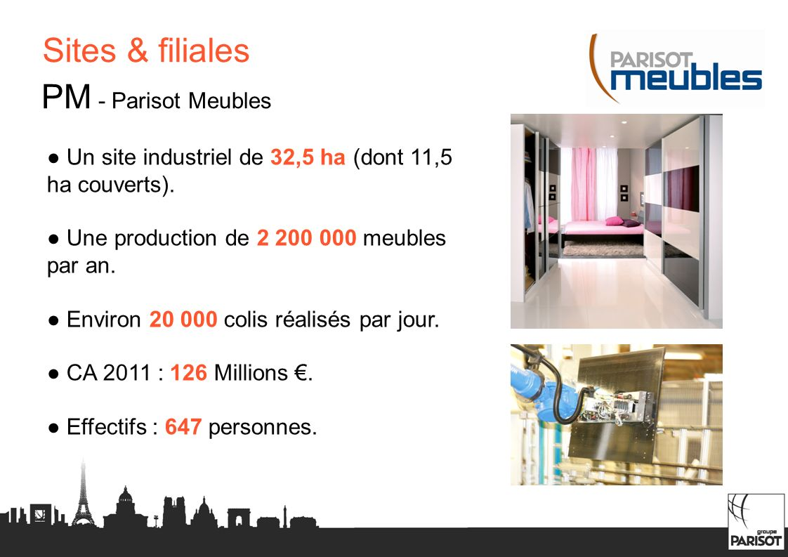Sites & filiales PM - Parisot Meubles