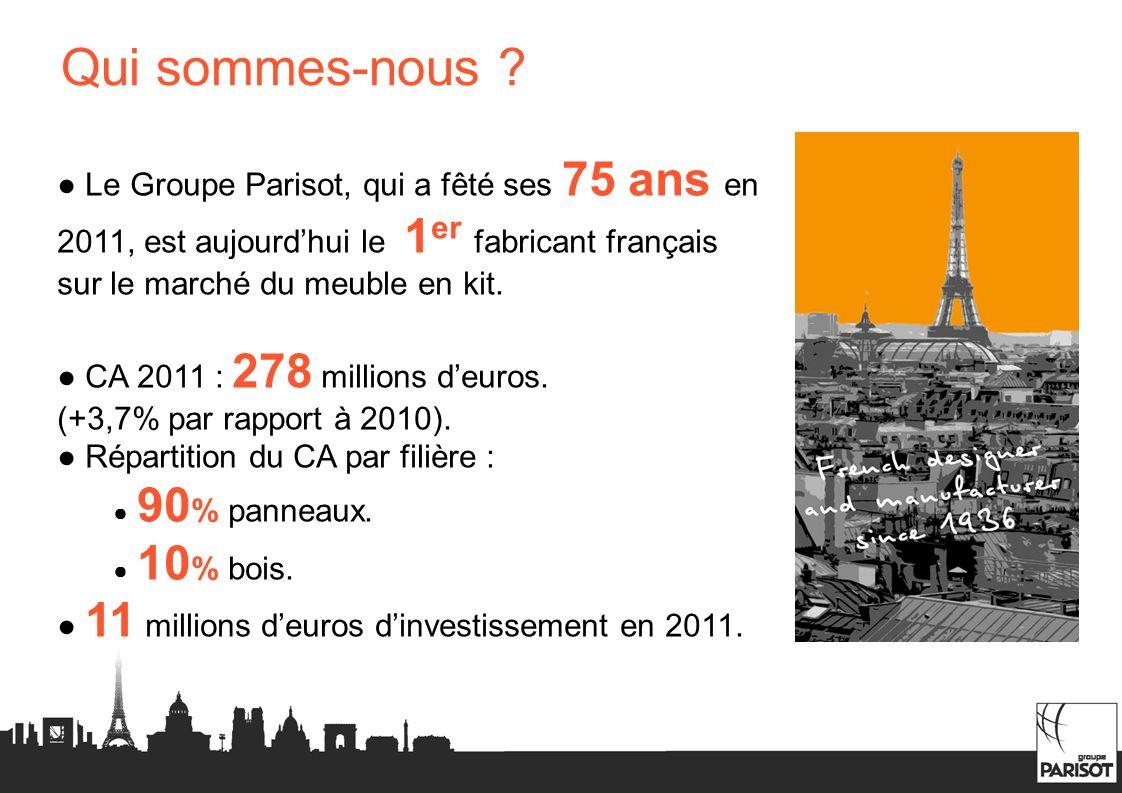 Qui sommes-nous ● Le Groupe Parisot, qui a fêté ses 75 ans en 2011, est aujourd'hui le 1er fabricant français sur le marché du meuble en kit.