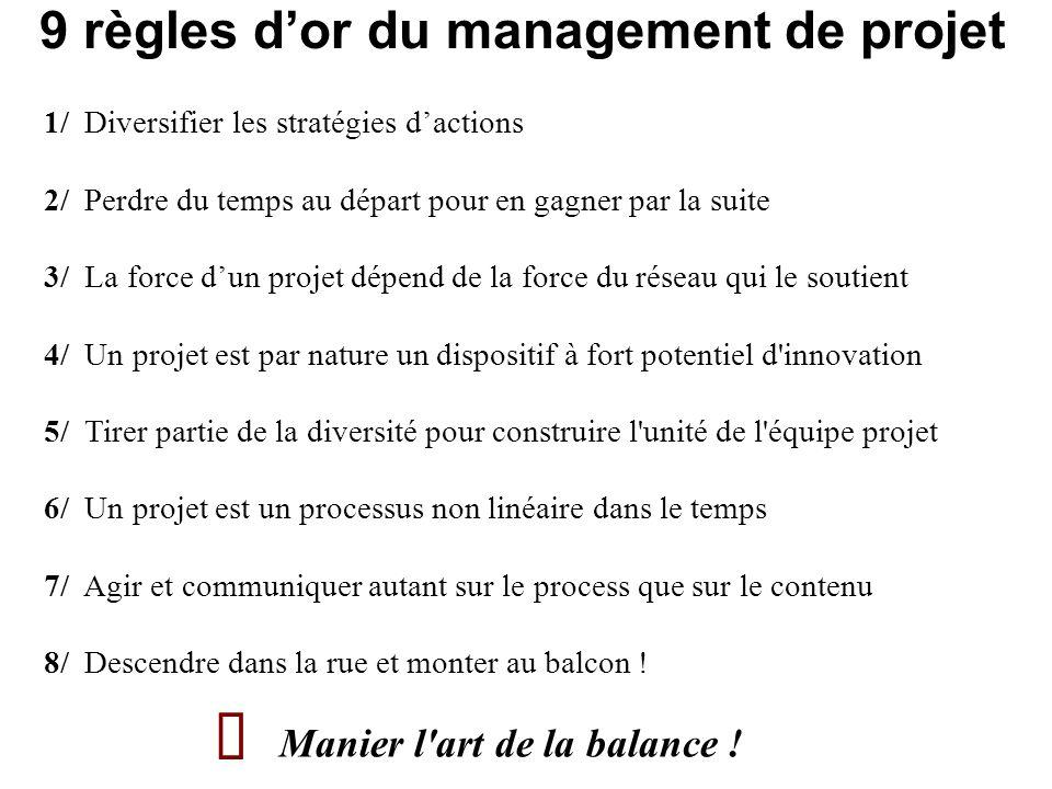Ä 9 règles d'or du management de projet Manier l art de la balance !