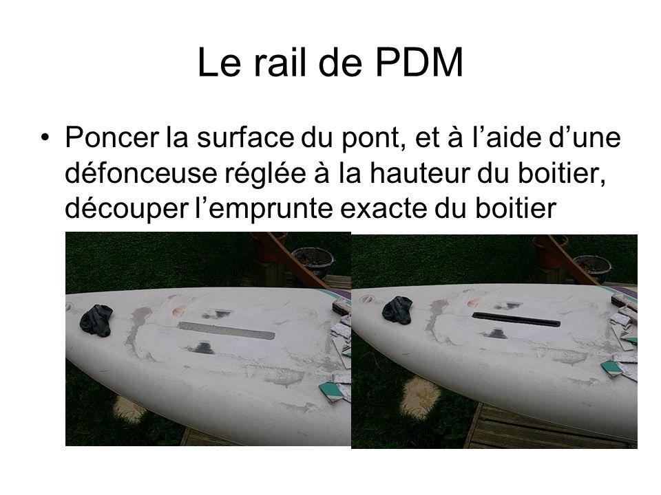 Le rail de PDM Poncer la surface du pont, et à l'aide d'une défonceuse réglée à la hauteur du boitier, découper l'emprunte exacte du boitier.