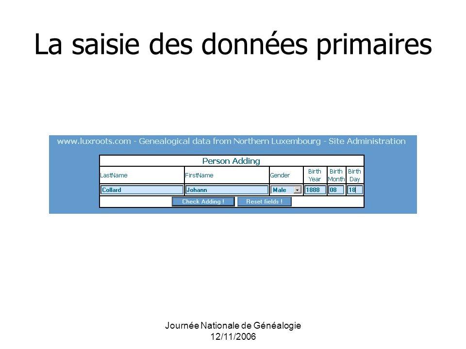 La saisie des données primaires