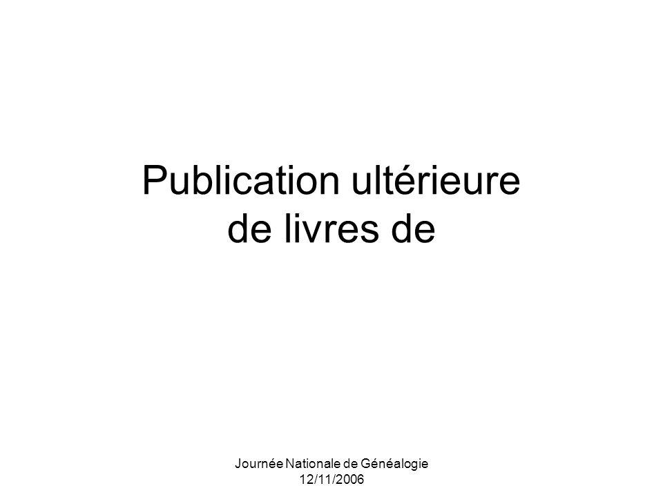 Publication ultérieure de livres de