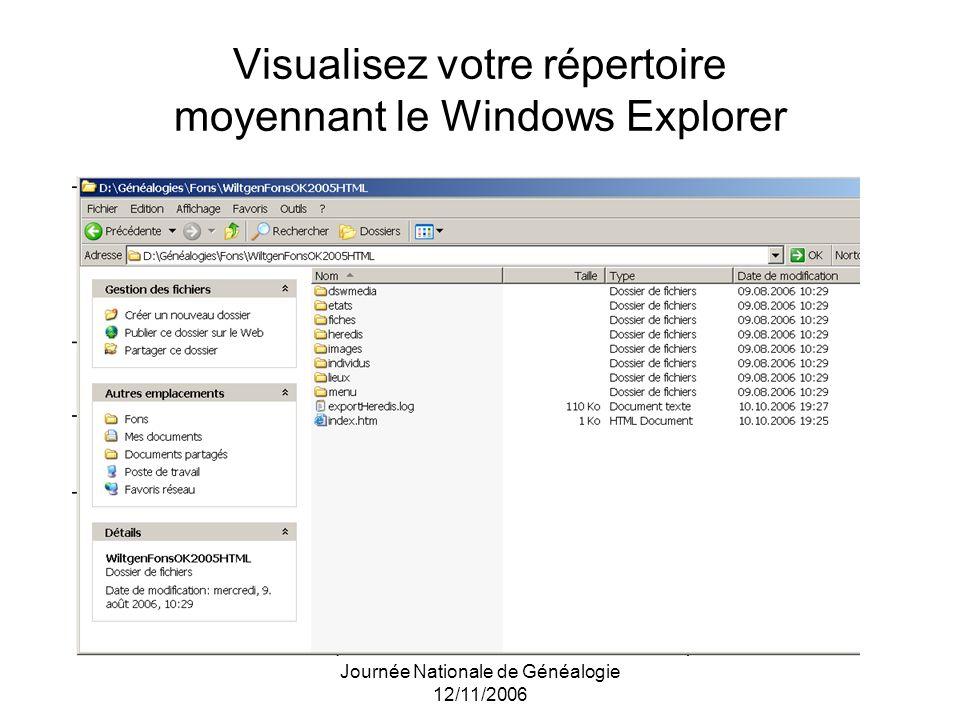 Visualisez votre répertoire moyennant le Windows Explorer