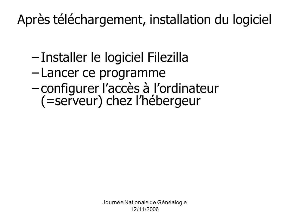 Après téléchargement, installation du logiciel