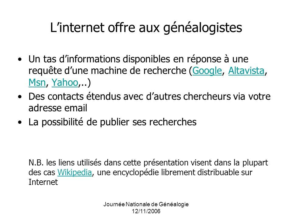 L'internet offre aux généalogistes