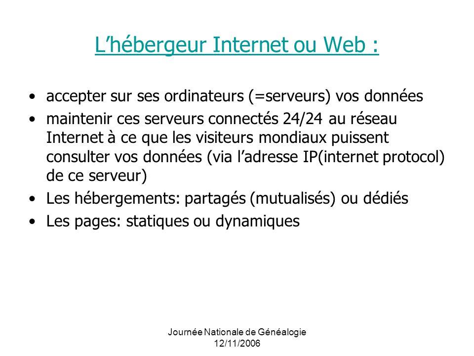 L'hébergeur Internet ou Web :