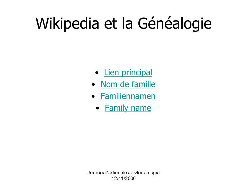 Wikipedia et la Généalogie