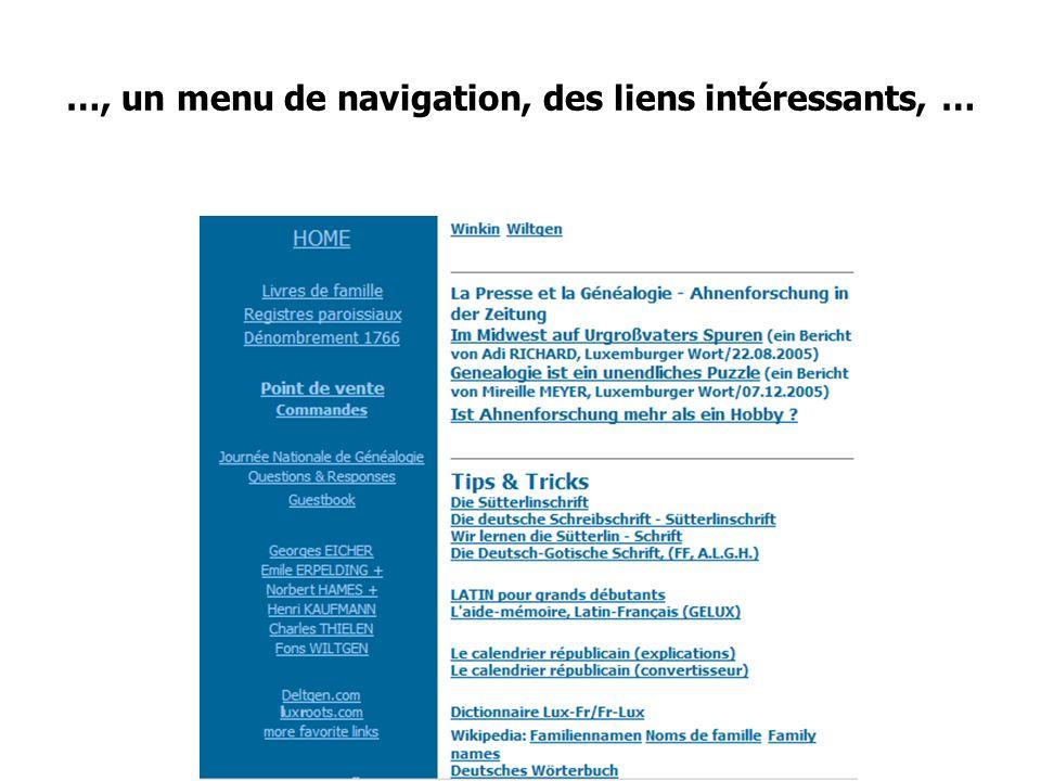 …, un menu de navigation, des liens intéressants, …