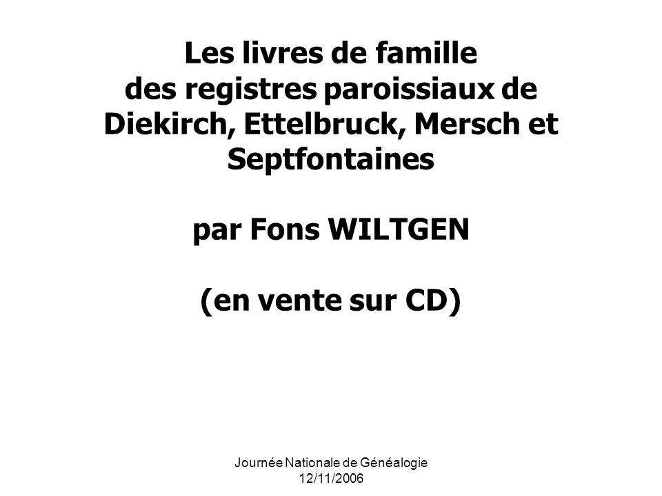 Journée Nationale de Généalogie 12/11/2006