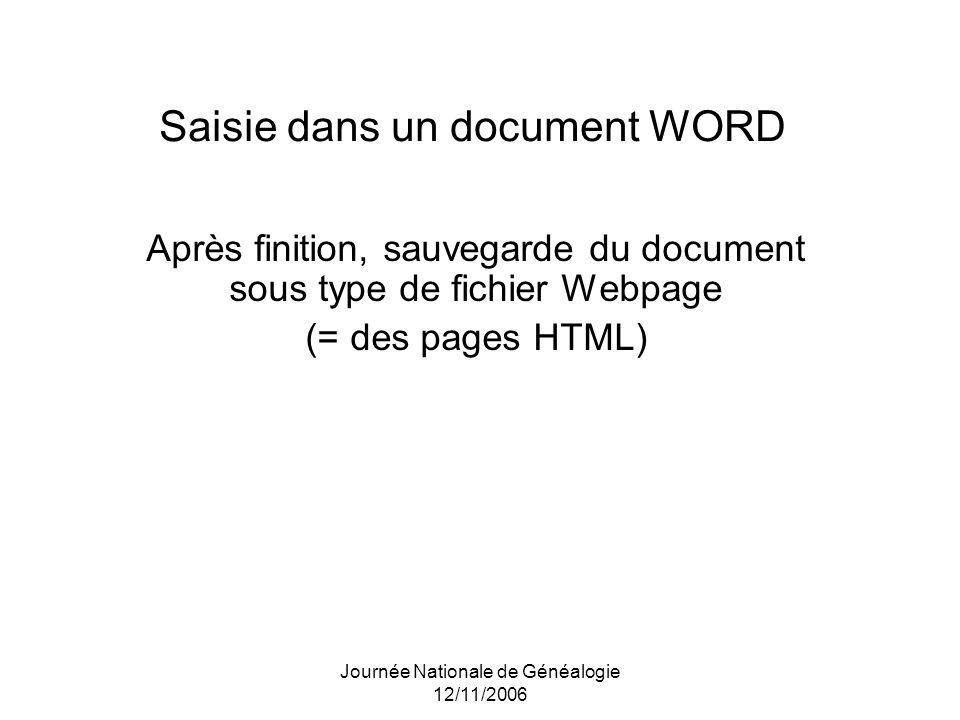 Saisie dans un document WORD
