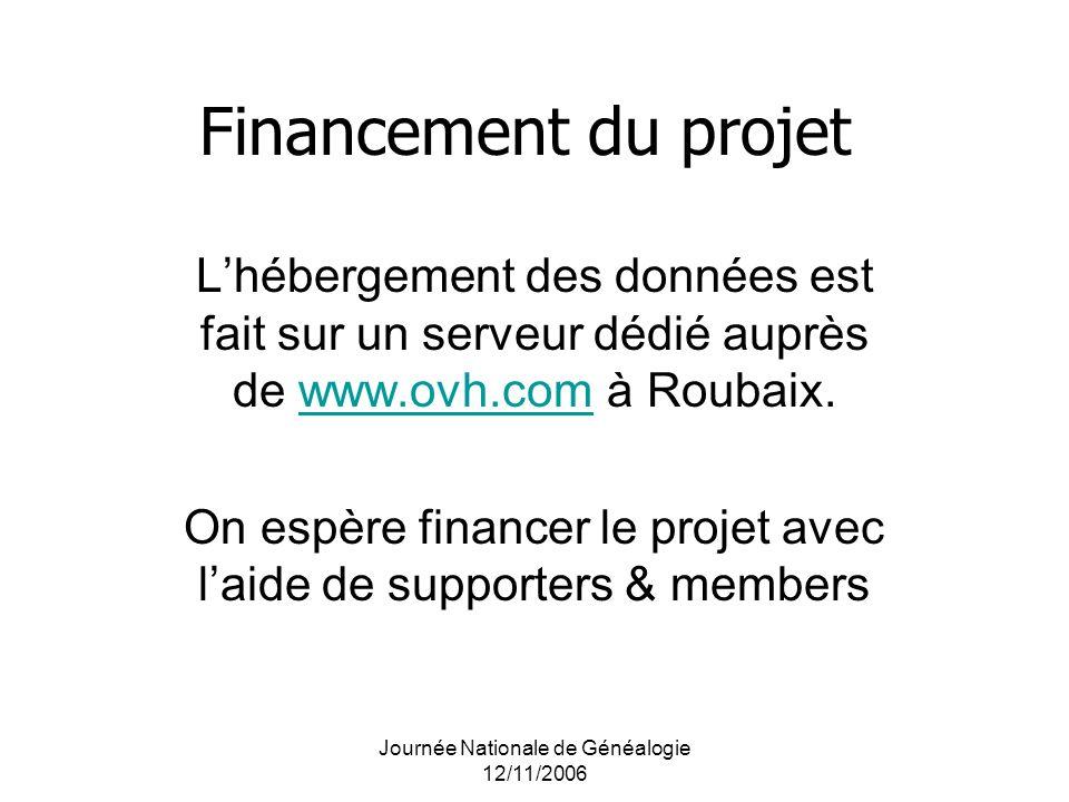 Financement du projet L'hébergement des données est fait sur un serveur dédié auprès de www.ovh.com à Roubaix.