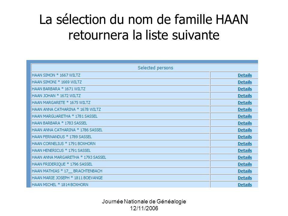 La sélection du nom de famille HAAN retournera la liste suivante