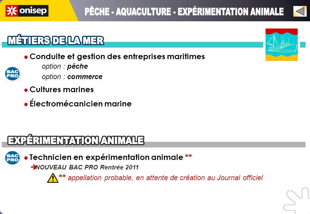 PÊCHE - AQUACULTURE - EXPÉRIMENTATION ANIMALE