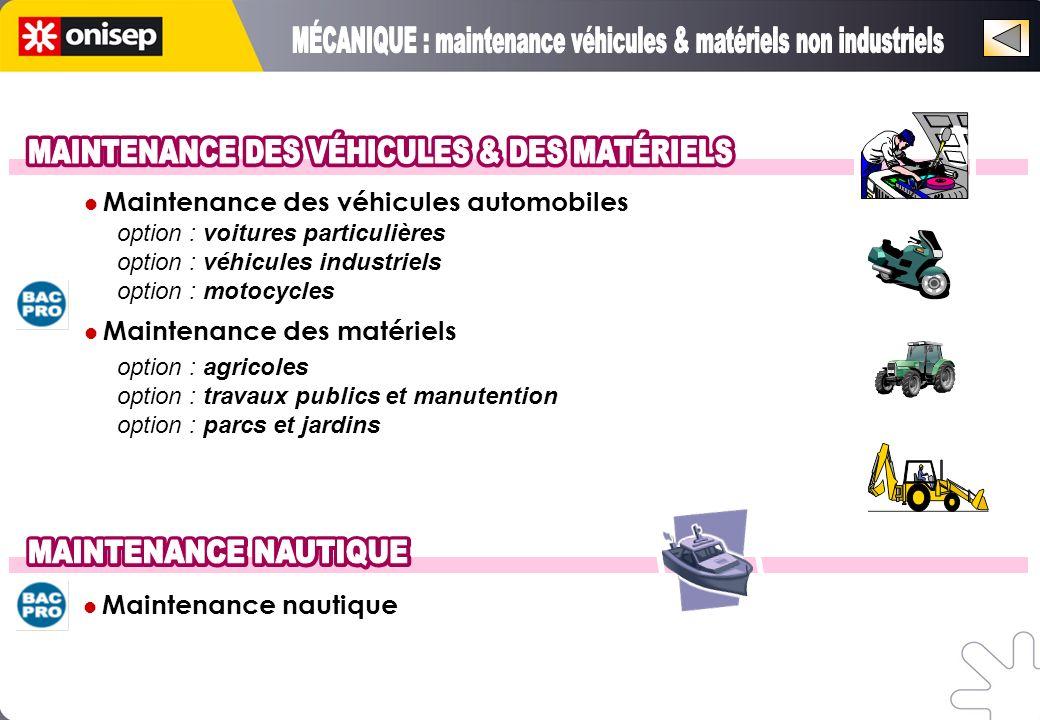 MÉCANIQUE : maintenance véhicules & matériels non industriels