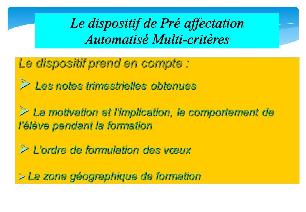 Le dispositif de Pré affectation Automatisé Multi-critères