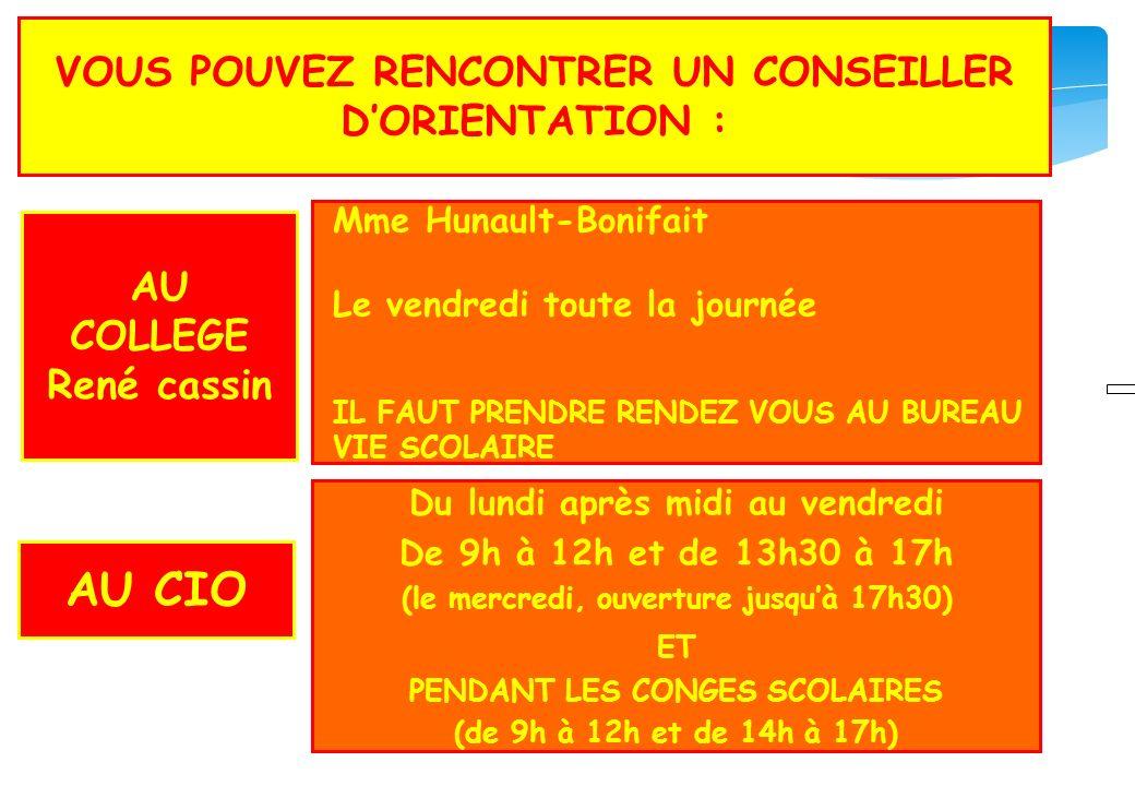 AU CIO VOUS POUVEZ RENCONTRER UN CONSEILLER D'ORIENTATION :