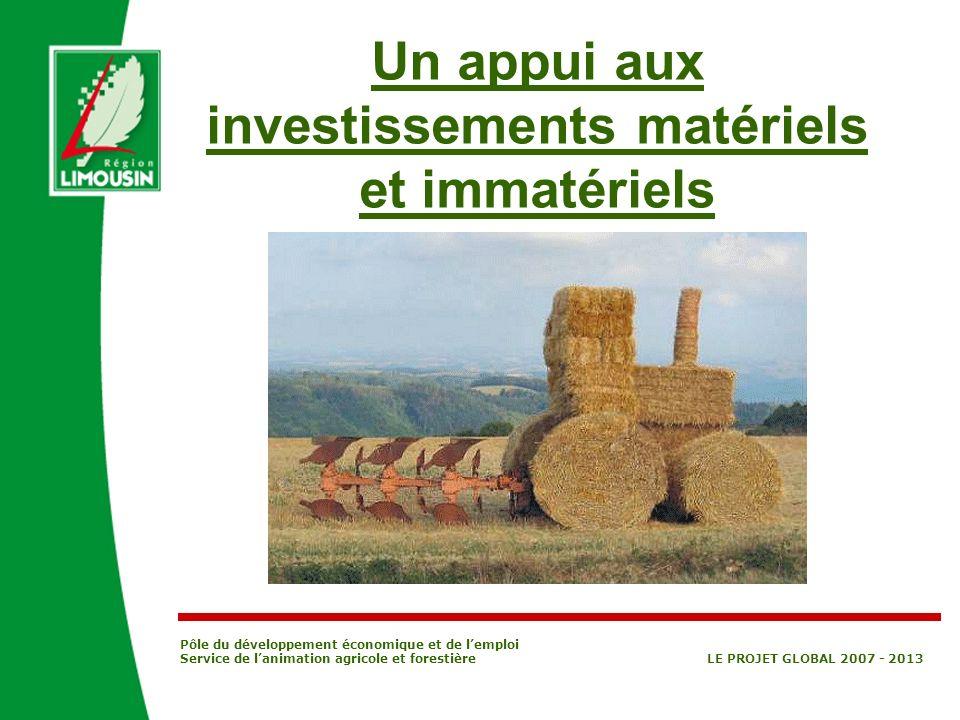 Un appui aux investissements matériels et immatériels