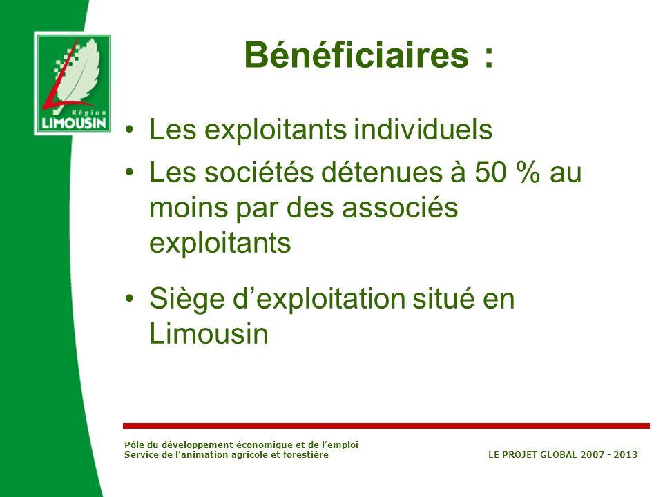 Bénéficiaires : Les exploitants individuels
