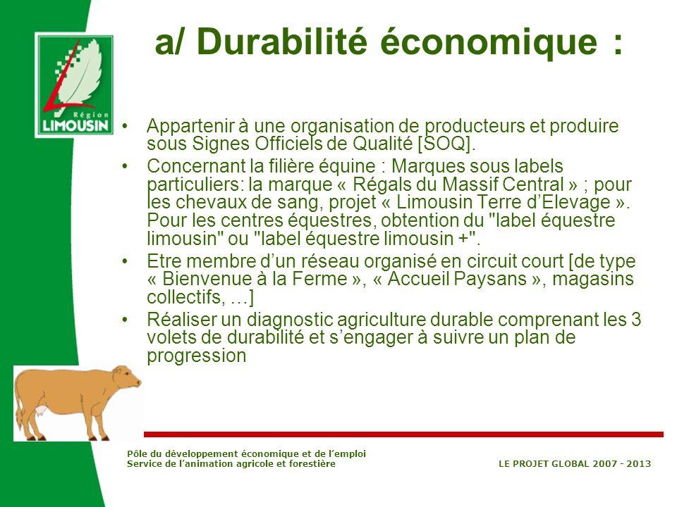 a/ Durabilité économique :