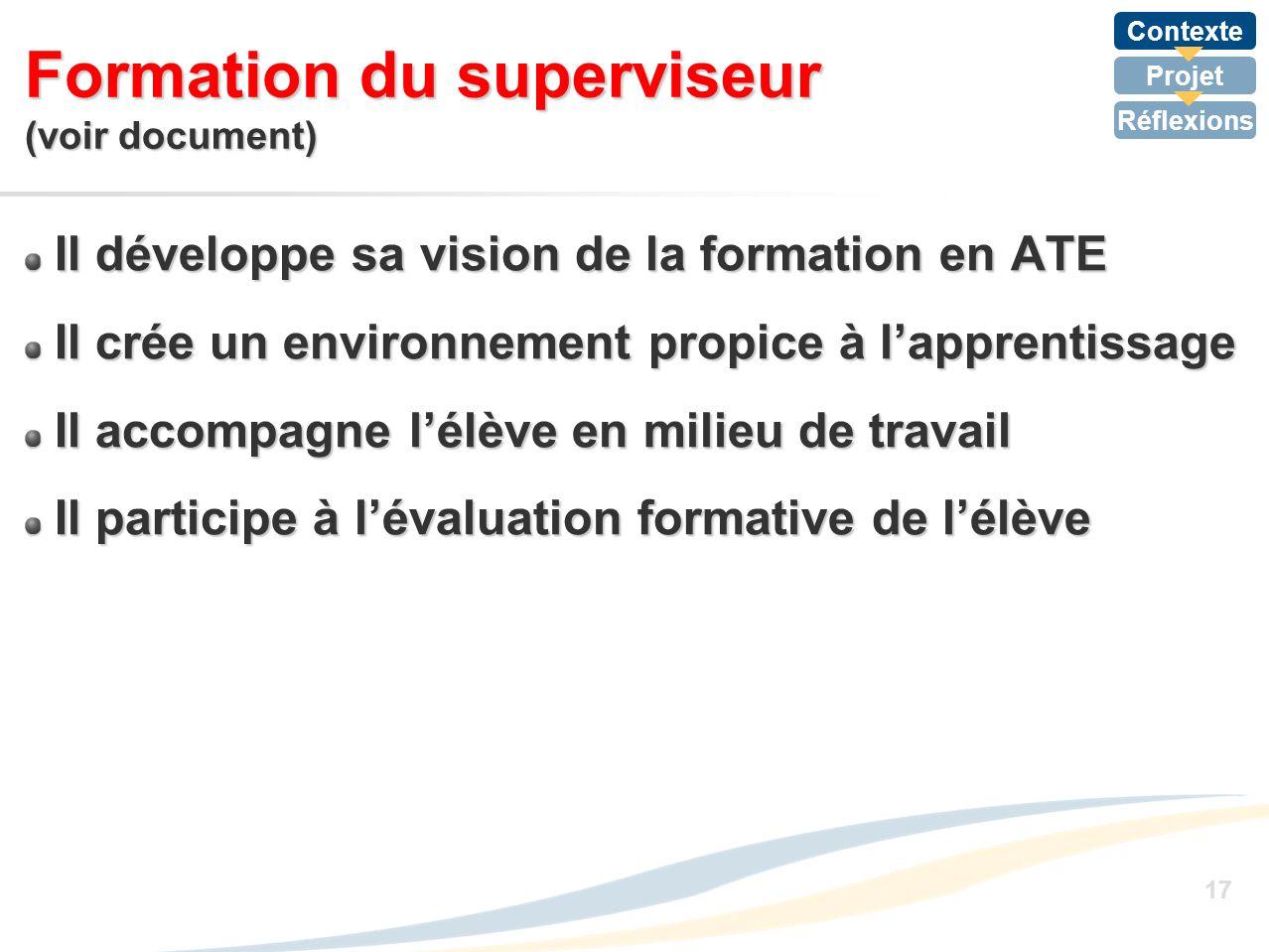 Formation du superviseur (voir document)