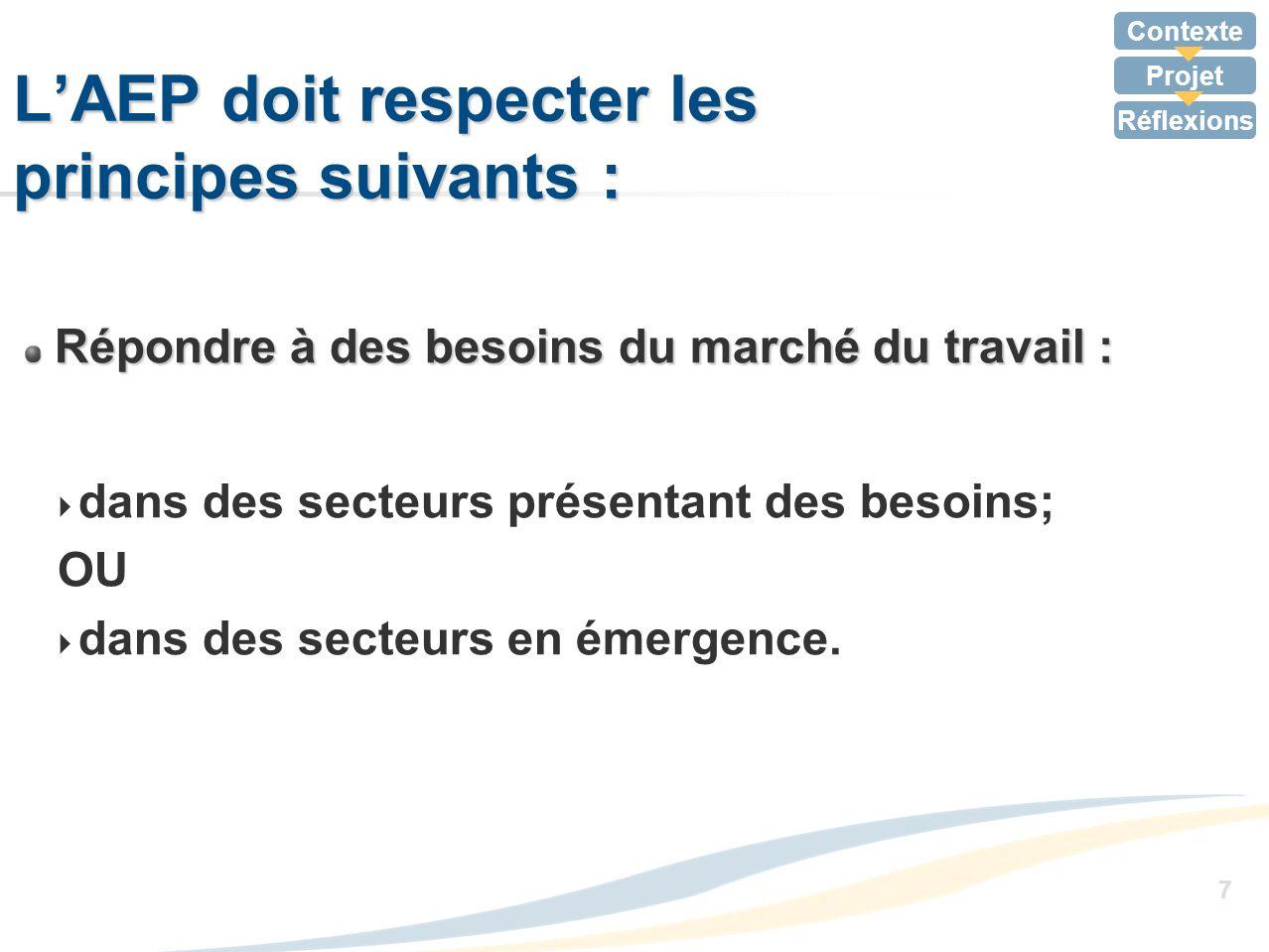 L'AEP doit respecter les principes suivants :