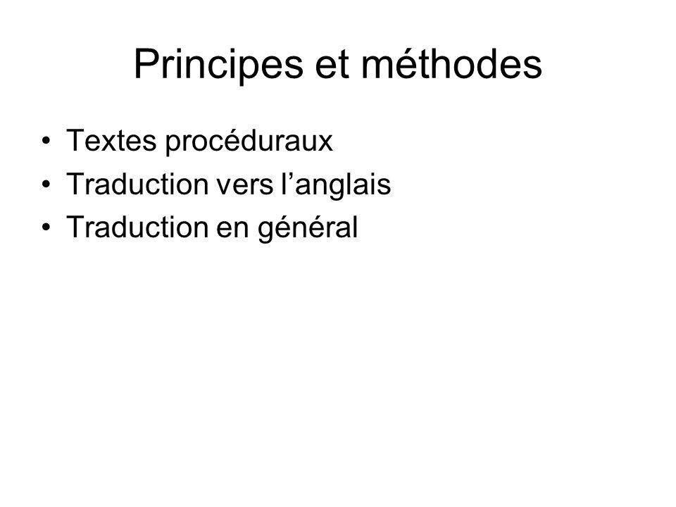 Principes et méthodes Textes procéduraux Traduction vers l'anglais