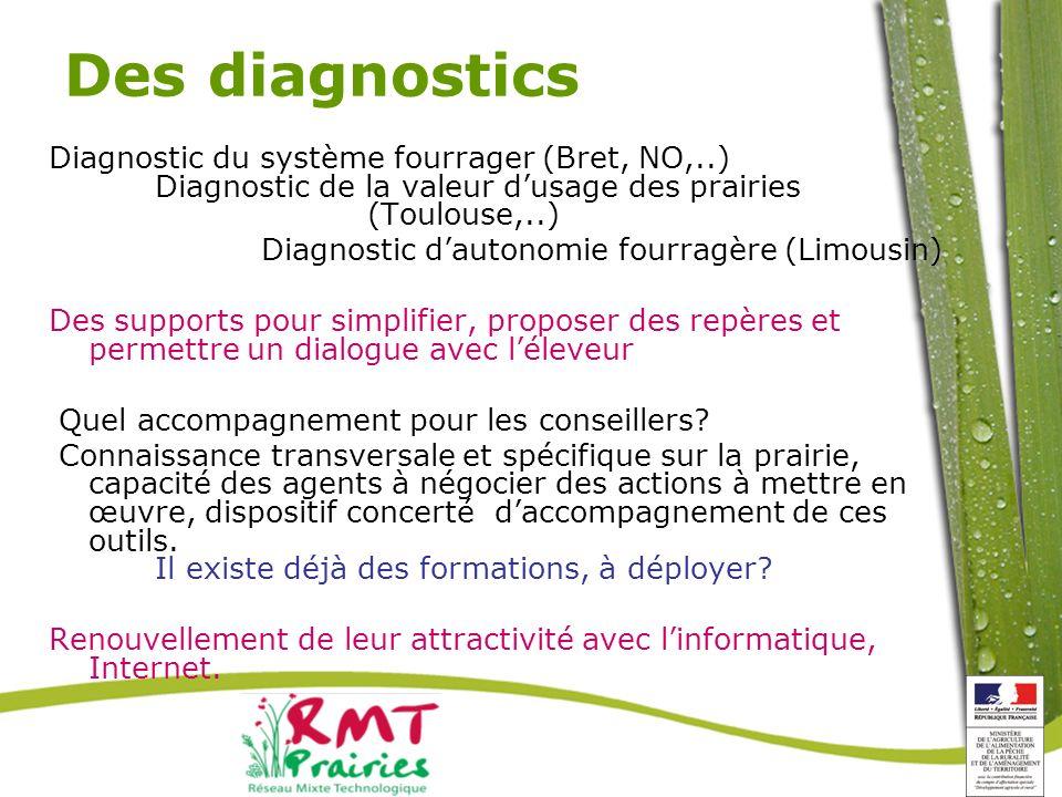 Des diagnostics Diagnostic du système fourrager (Bret, NO,..) Diagnostic de la valeur d'usage des prairies (Toulouse,..)