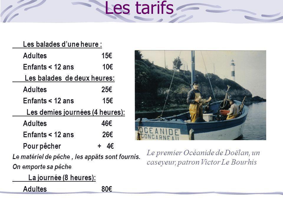 Les tarifs Les balades d'une heure : Adultes 15€