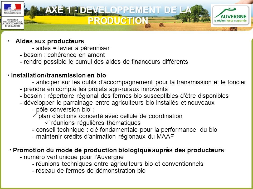 AXE 1 - DEVELOPPEMENT DE LA PRODUCTION