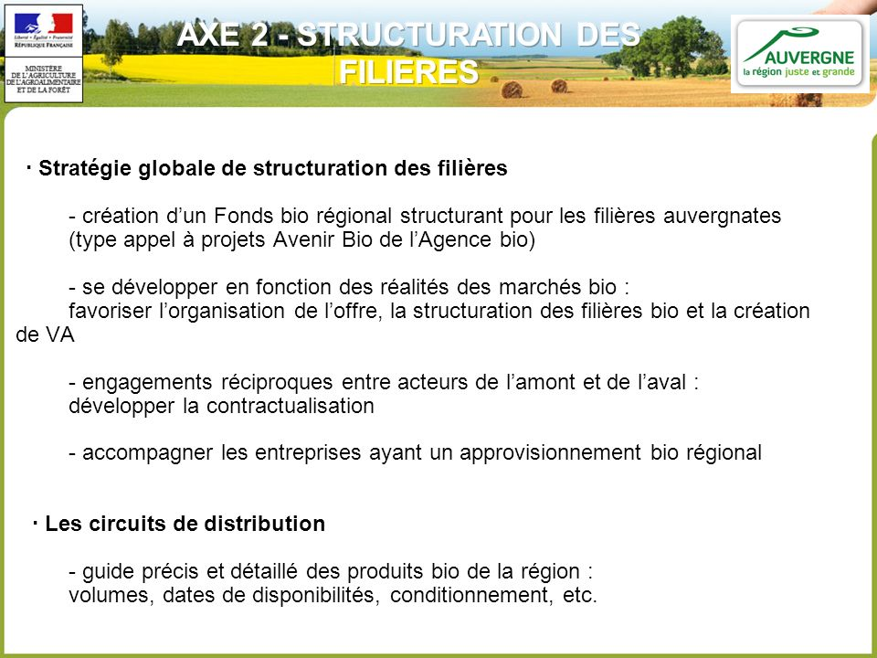 AXE 2 - STRUCTURATION DES FILIERES