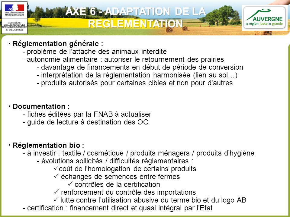AXE 6 - ADAPTATION DE LA REGLEMENTATION