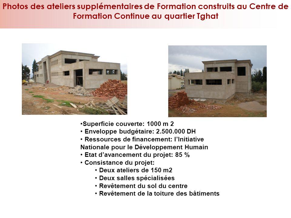 Photos des ateliers supplémentaires de Formation construits au Centre de Formation Continue au quartier Tghat