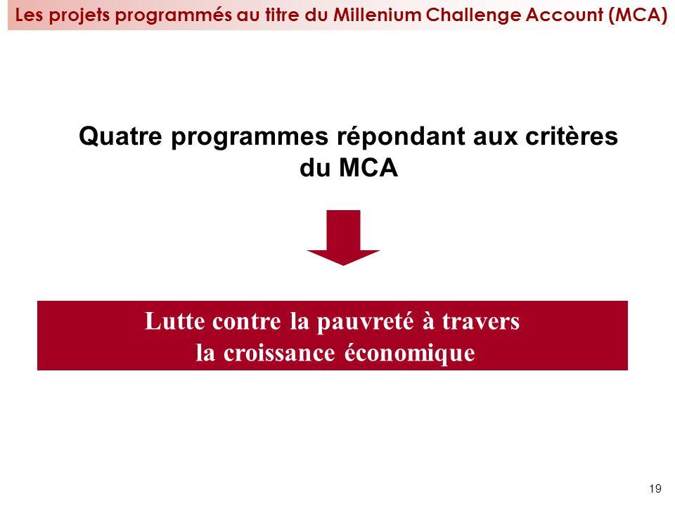 Quatre programmes répondant aux critères du MCA