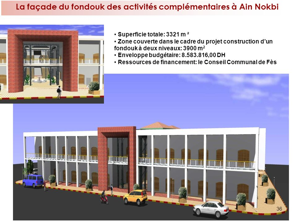 La façade du fondouk des activités complémentaires à Ain Nokbi