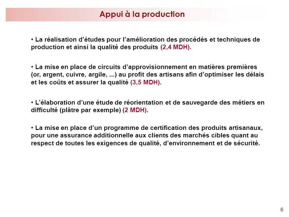 Appui à la production
