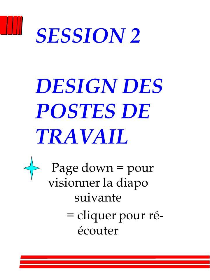 SESSION 2 DESIGN DES POSTES DE TRAVAIL