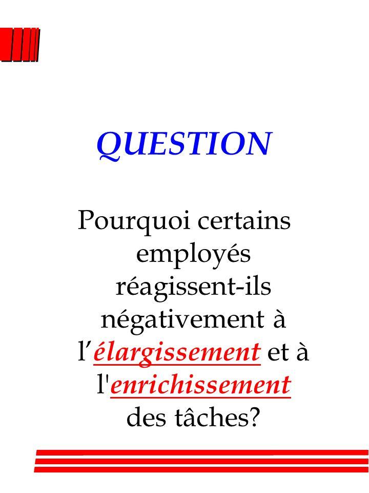 QUESTION Pourquoi certains employés réagissent-ils négativement à l'élargissement et à l enrichissement des tâches