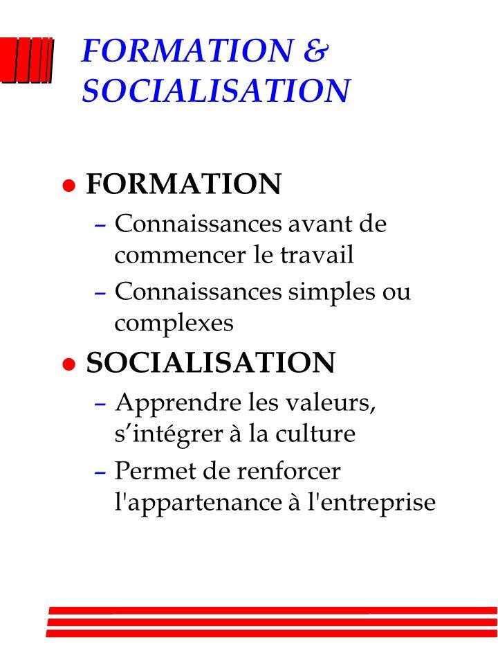 FORMATION & SOCIALISATION