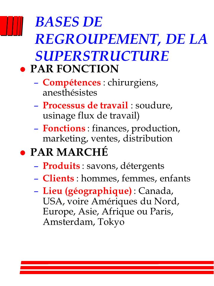 BASES DE REGROUPEMENT, DE LA SUPERSTRUCTURE