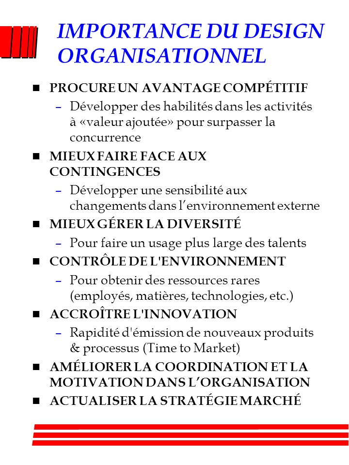 IMPORTANCE DU DESIGN ORGANISATIONNEL